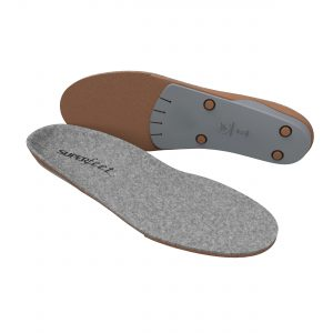 Superfeet merinoGREY combine the natural, thermoregulating merino wool with Superfeet's legendary support and performance. The result is a supportive insole with a soft, felted merino wool top that will keep your feet warmer when it's chilly, and cooler when it's hot. So whether you're walking in the city or running a mountain trail, the comfortable support you feel will be with you all year long.